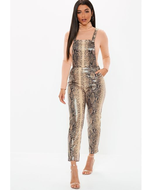 Missguided - Brown Faux Leather Snake Print Dungaree Jumpsuit - Lyst