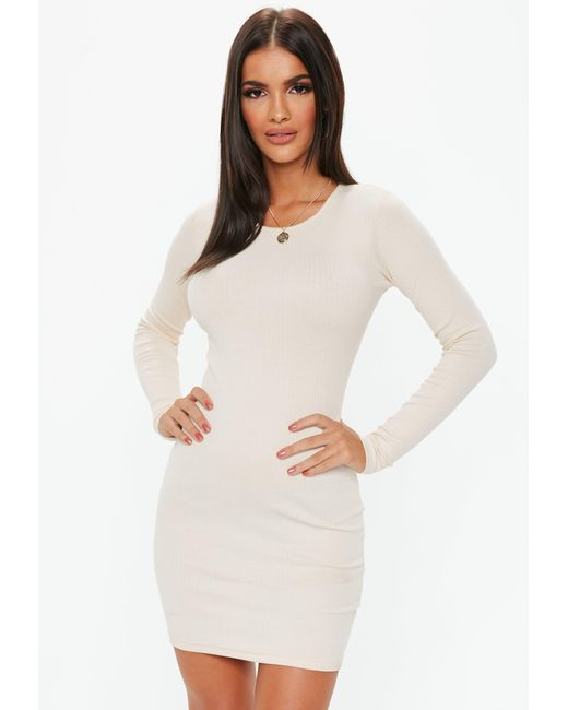 Missguided - Natural Cream Ribbed Bodycon Mini Dress - Lyst ... 9bab05bce