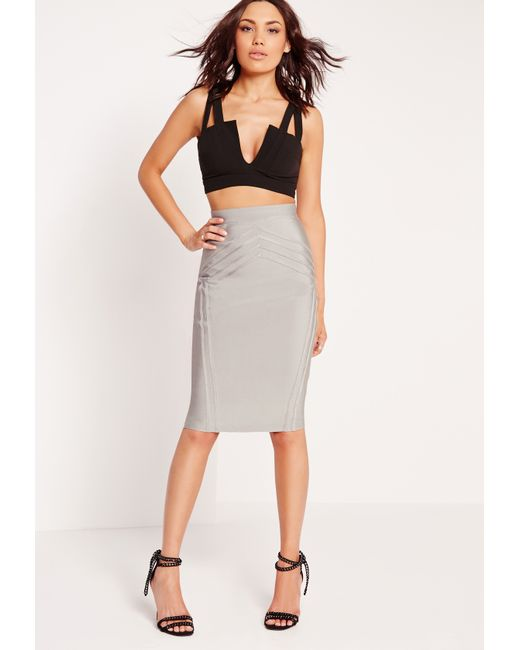 missguided high waisted bandage midi skirt grey in gray lyst