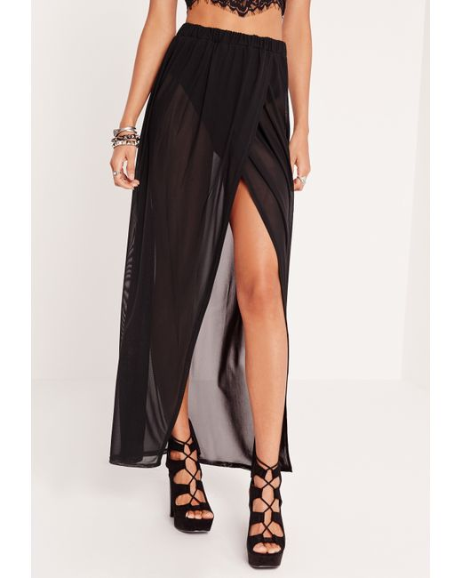missguided mesh maxi skirt with insert black in