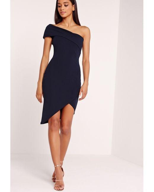Missguided Asymmetric Bodycon Dress Navy In Blue Lyst