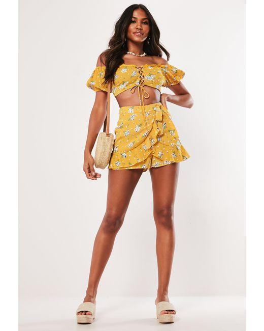 ec54287b3fbb3d ... Missguided - Yellow Mustard Floral Bardot Crop Top Co Ord - Lyst ...