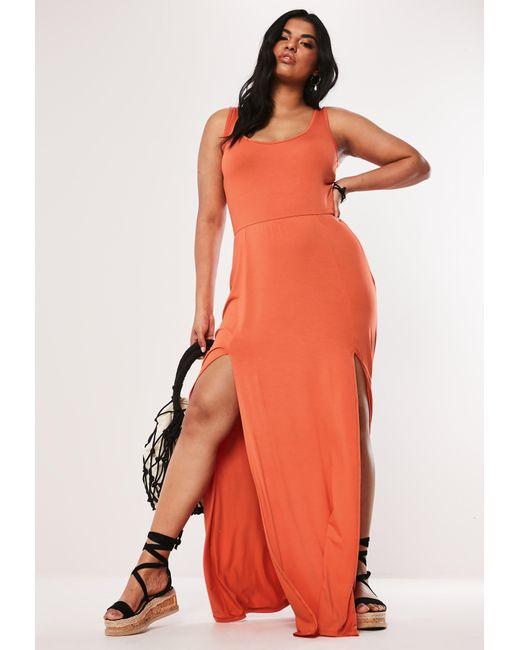 Women\'s Plus Size Orange Double Split Maxi Dress