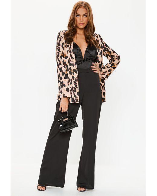 7651c178d8b41 Lyst - Missguided Black Satin Wide Leg Trousers in Black