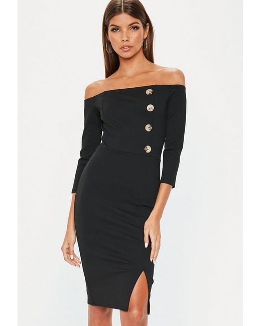 Missguided Black Horn Button Bardot Midi Dress in Black - Lyst 0c2829ab8