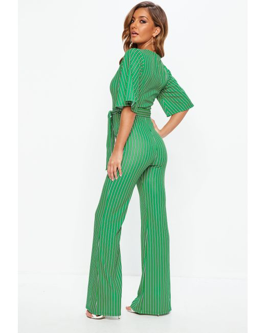 b09368c7b41 ... Missguided - Green Stripe Plunge Kimono Stripe Sleeve Jumpsuit - Lyst  ...