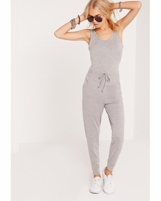Missguided | Gray Jersey Sleeveless Jumpsuit Grey | Lyst