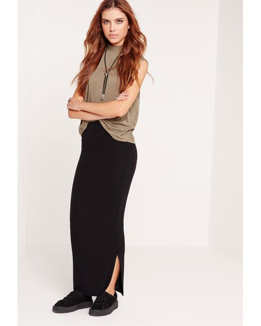 missguided ribbed maxi skirt black in black lyst