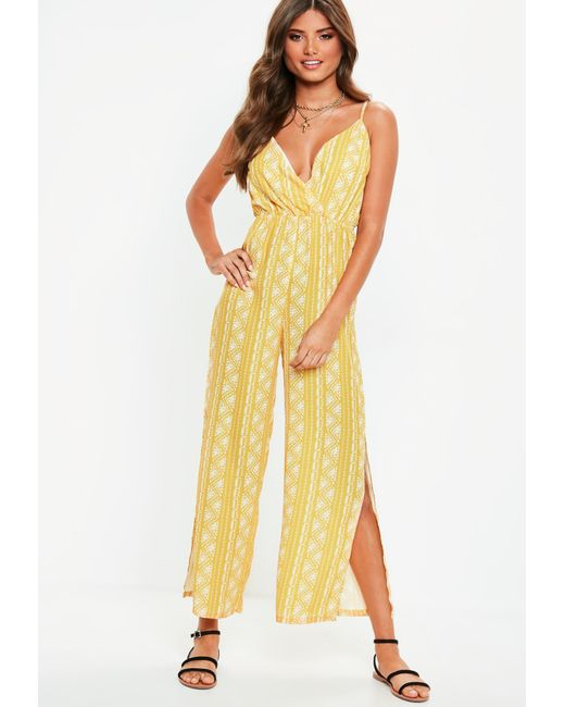 105c0fc18225 Missguided Yellow Split Leg Jumpsuit in Yellow - Lyst
