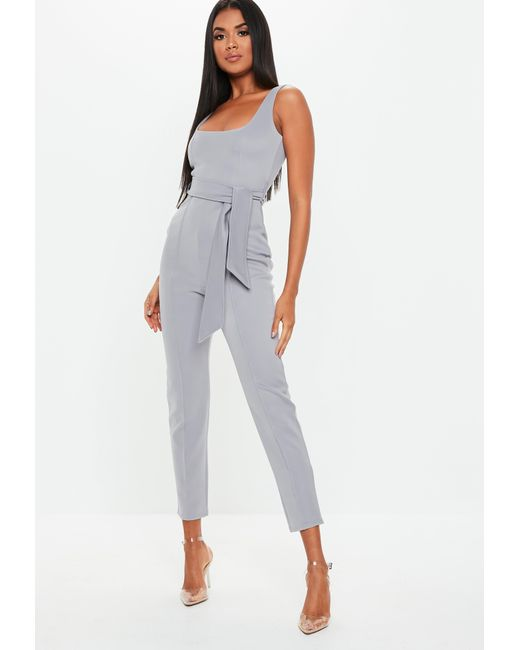 e88d2ec661b8 Missguided - Gray Grey Belted Pintuck Slim Leg Jumpsuit - Lyst ...