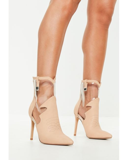 1bd42421dc1c Missguided - Natural Nude Faux Leather Clear Cut Out Ankle Boots - Lyst ...