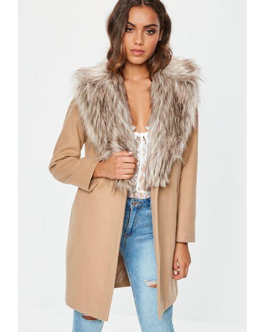 5341d8ec756c Missguided - Natural Camel Faux Fur Collar Short Formal Coat - Lyst ...