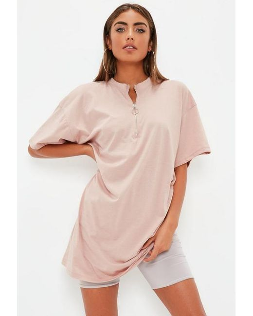 a72d309eb449 Missguided Rose Pink Oversized Zip Front T-shirt Dress in Pink - Lyst