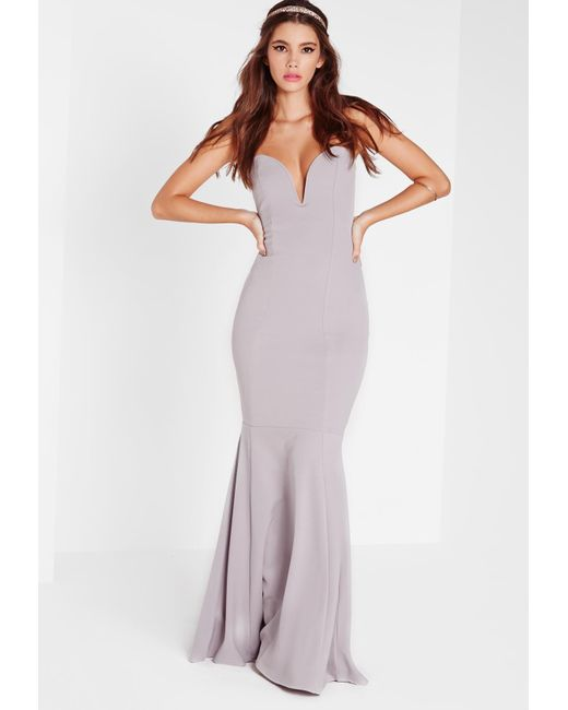 Missguided - Gray Scuba Bandeau Fishtail Maxi Dress Grey - Lyst