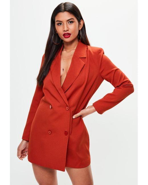 Missguided - Orange Crepe Blazer Dress - Lyst