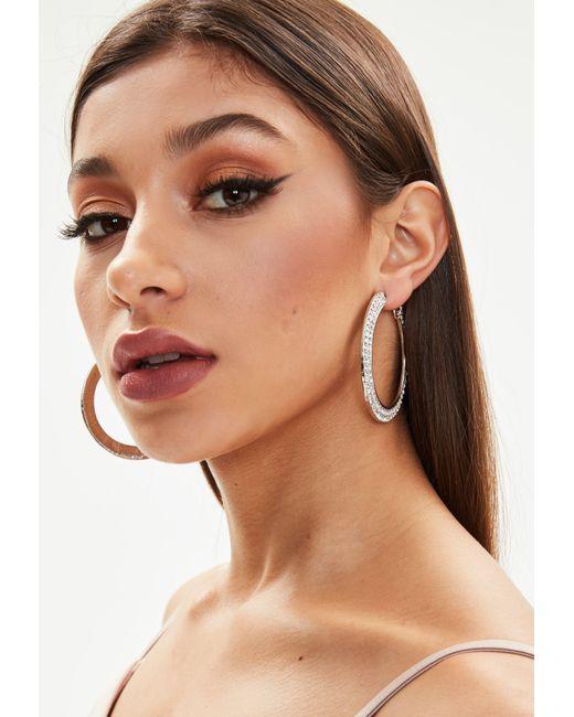 Missguided - Metallic Silver Diamante Thick Flat Hoop Earrings - Lyst