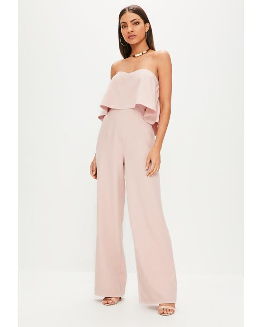 b5948a2b72c ... Missguided - Natural Nude Double Layer Bandeau Wide Leg Jumpsuit - Lyst  ...