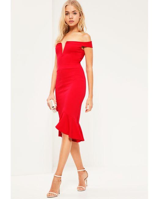Missguided | Red V Bar Bardot Frill Bottom Dress | Lyst