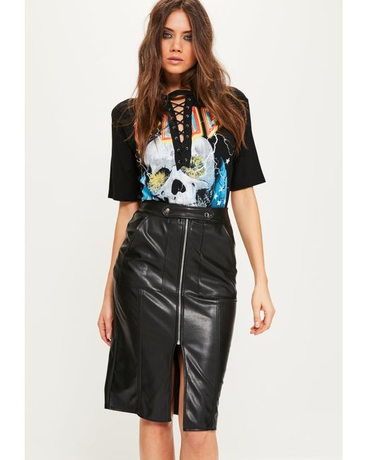 Missguided Black Faux Leather Tab Detail Zip Front Midi Skirt in ...