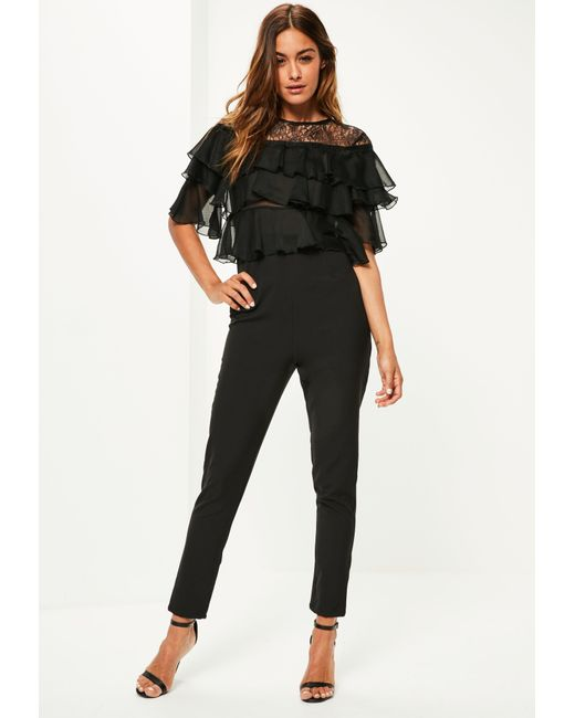Missguided   Black Lace Frill Sleeve Jumpsuit   Lyst