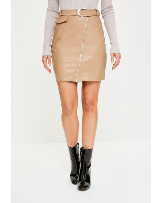 Missguided Nude Faux Leather Biker Detail Mini Skirt In Natural  Lyst-9665