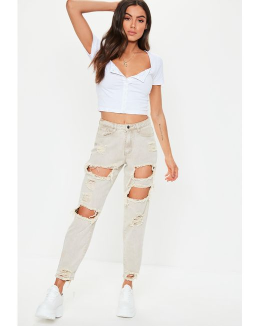 f9d1c37df1c ... Missguided - White Square Neck Button Front Crop Top - Lyst ...