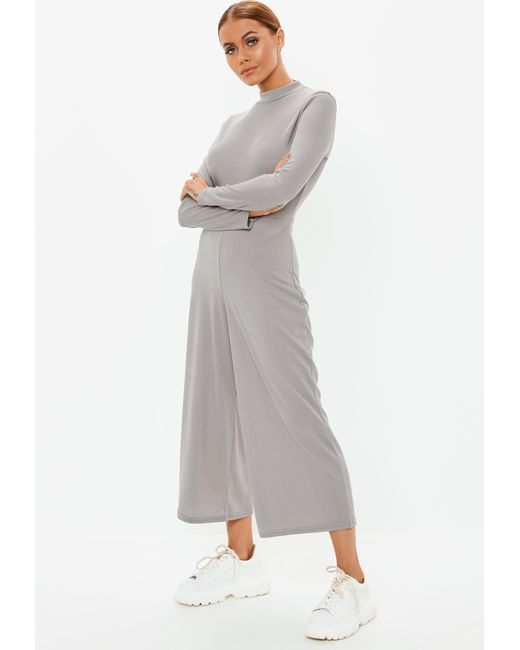 d0915258ebe ... Missguided - Gray Grey High Neck Ribbed Culotte Jumpsuit - Lyst ...