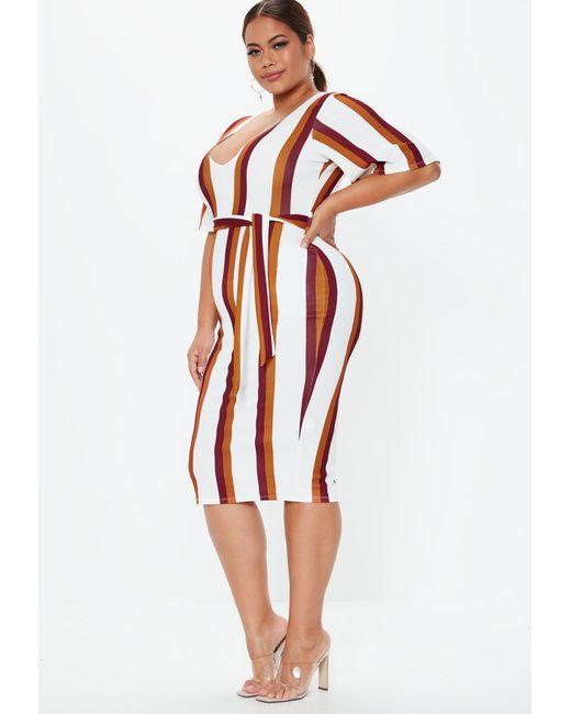 Lyst - Missguided Plus Size White Stripe Kimono Midi Dress in White