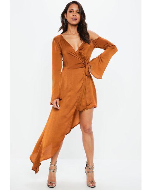 Missguided - Brown Rust Asymmetric Long Sleeve Satin Maxi Dress - Lyst
