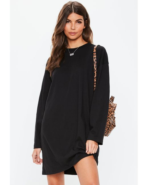 ... Missguided - Black Playgrxnd Long Oversized T Shirt Dress - Lyst ... 02db93926
