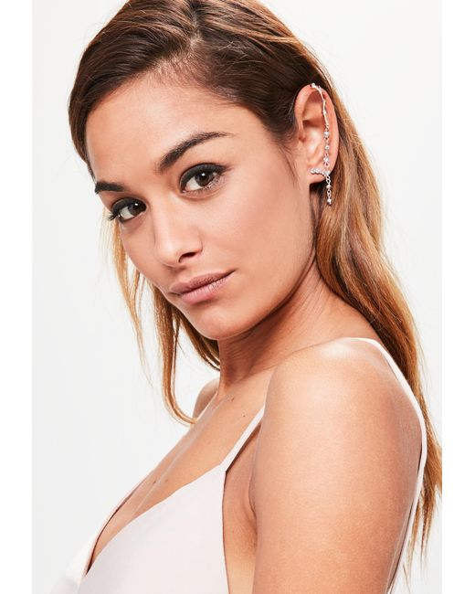 Missguided | Metallic Rose Gold Diamante Earrings Set | Lyst