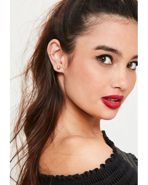 Missguided | Metallic Gold Ball Earrings Set | Lyst