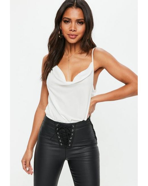 Missguided - White Cowl Front Strappy Bodysuit - Lyst