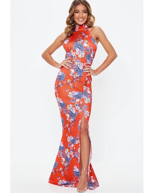 9de8b748b3d Women's Red Floral Choker Maxi Dress