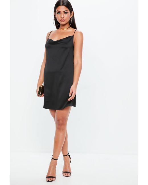 ... Missguided - Black Satin Strappy Cowl Shift Dress - Lyst ... 99af1515d