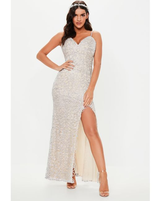 75edc5d077f Missguided - Metallic Bridesmaid Silver Embellished Plunge Maxi Dress -  Lyst ...