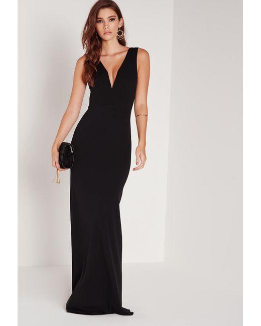 Lyst Missguided Petite Black V Plunge Scuba Maxi Dress In Black