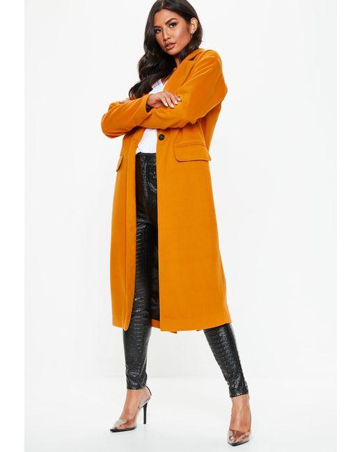 5aaf21a11bdf Lyst - Missguided Orange Long Length Faux Wool Coat in Orange
