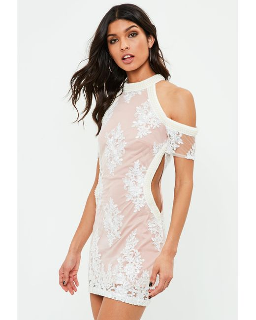 Missguided - White Trimmed Cut Out Dress - Lyst