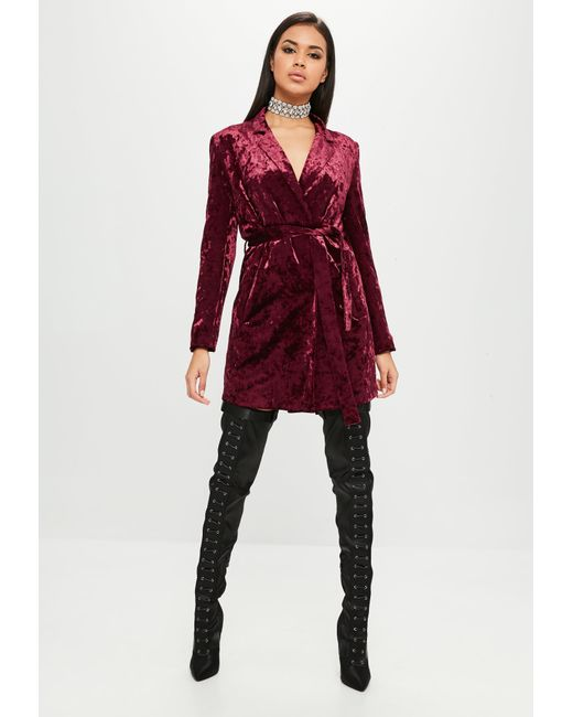 ... Missguided - Red Carli Bybel X Burgundy Crushed Velvet Wrap Dress - Lyst  ... 3bd0bbadb