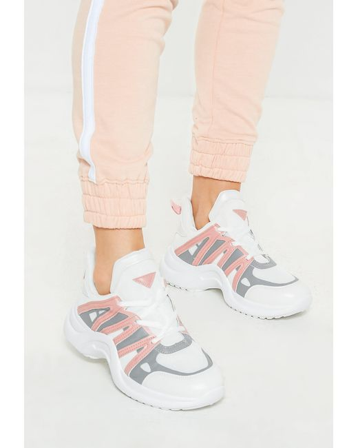 Missguided - Pink Arched Colour Detail Trainers - Lyst