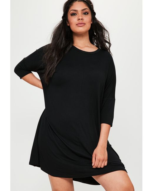 Missguided - Plus Size Oversized T-shirt Dress Black - Lyst