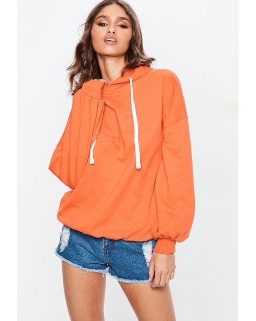 Missguided - Orange Oversized Puff Sleeve Hoodie - Lyst