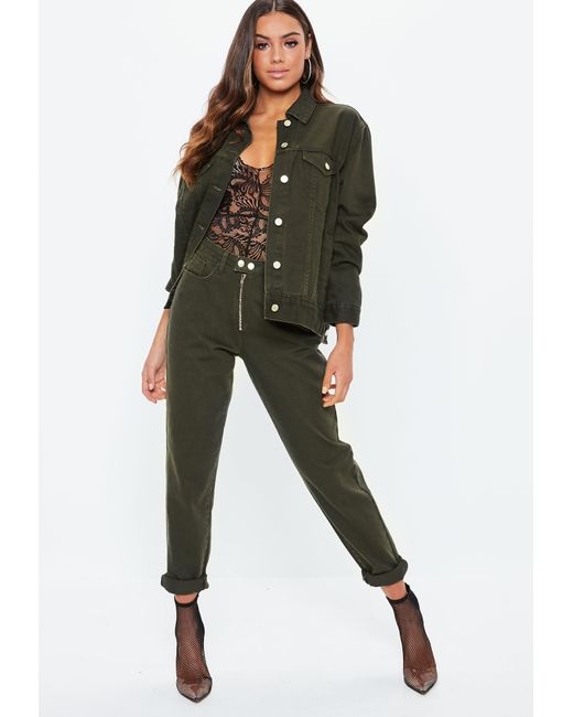 Missguided - Multicolor Khaki Double Popper Mom Jeans Co-ord - Lyst