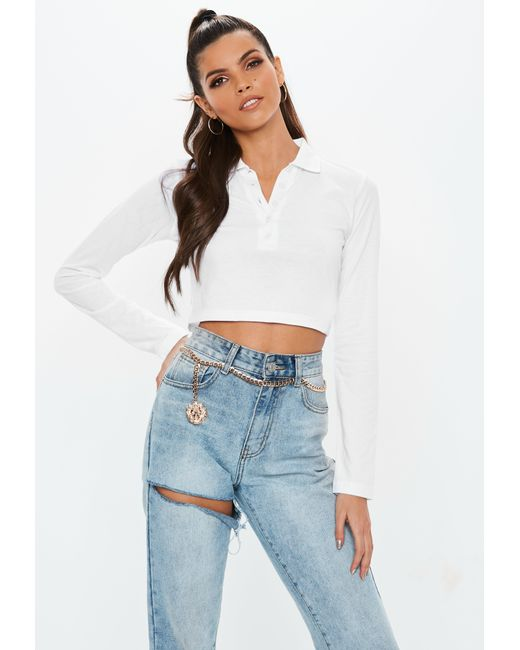 db4512ec2401b Missguided - White Button Front Polo Crop Top - Lyst ...