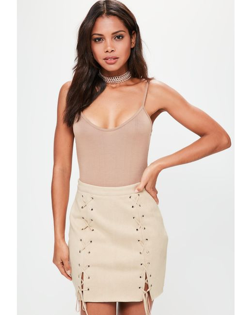 Missguided | Natural Nude Bonded Faux Suede Eyelet Lace Up Mini Skirt | Lyst