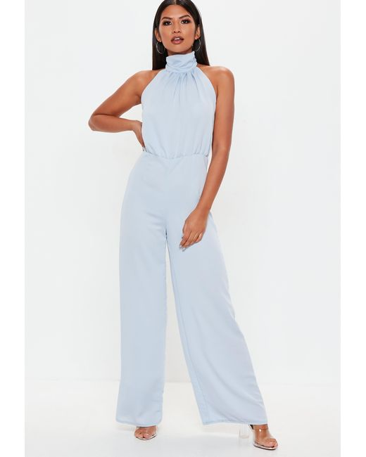 7ca76c32240eb Missguided Baby Blue Halterneck Wide Leg Jumpsuit in Blue - Lyst