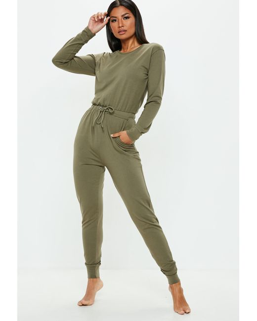 0730a3eb97d Missguided - Green Khaki Casual Loungewear Jumpsuit - Lyst ...