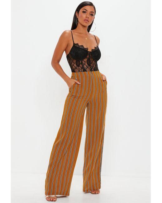 Missguided - Brown Mustard Stripe Wide Leg Pants - Lyst