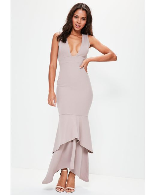 Missguided - Natural Nude Crepe Plunge Fishtail Maxi Dress - Lyst